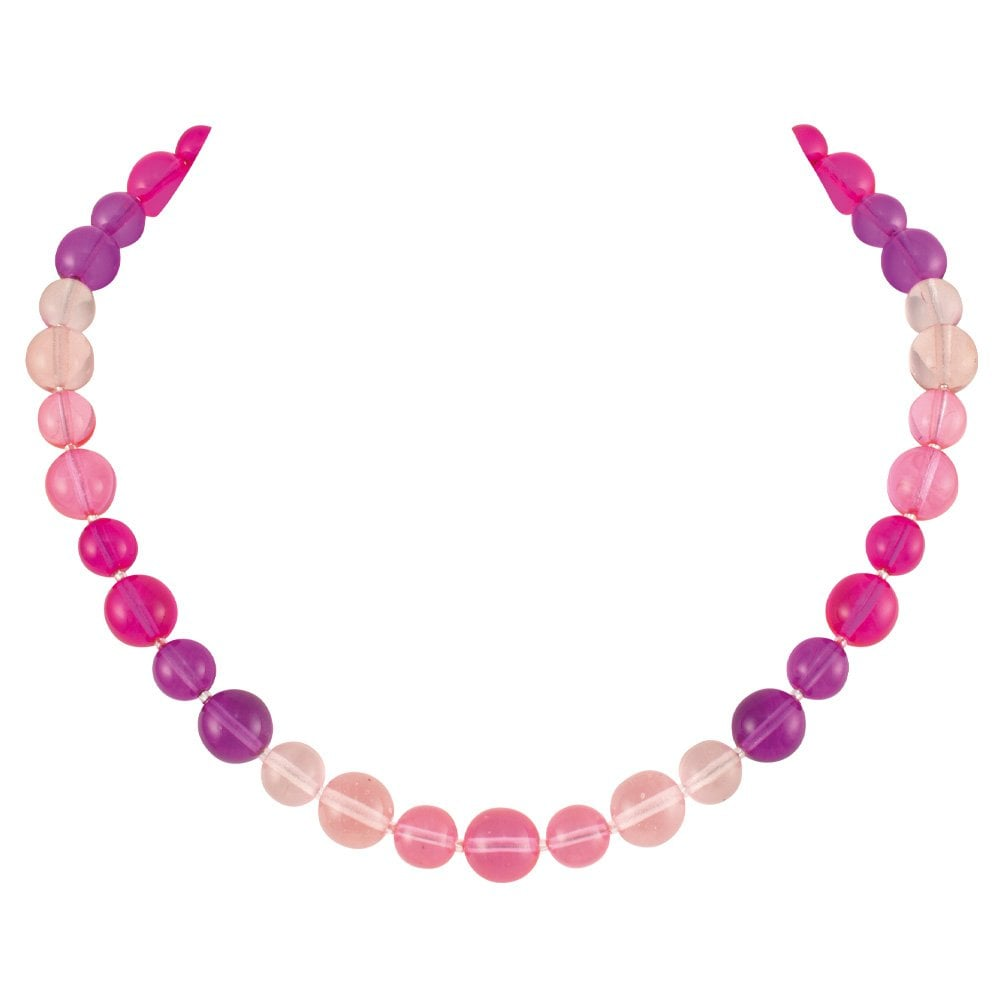 Pink and Purple Glass Bead Necklace