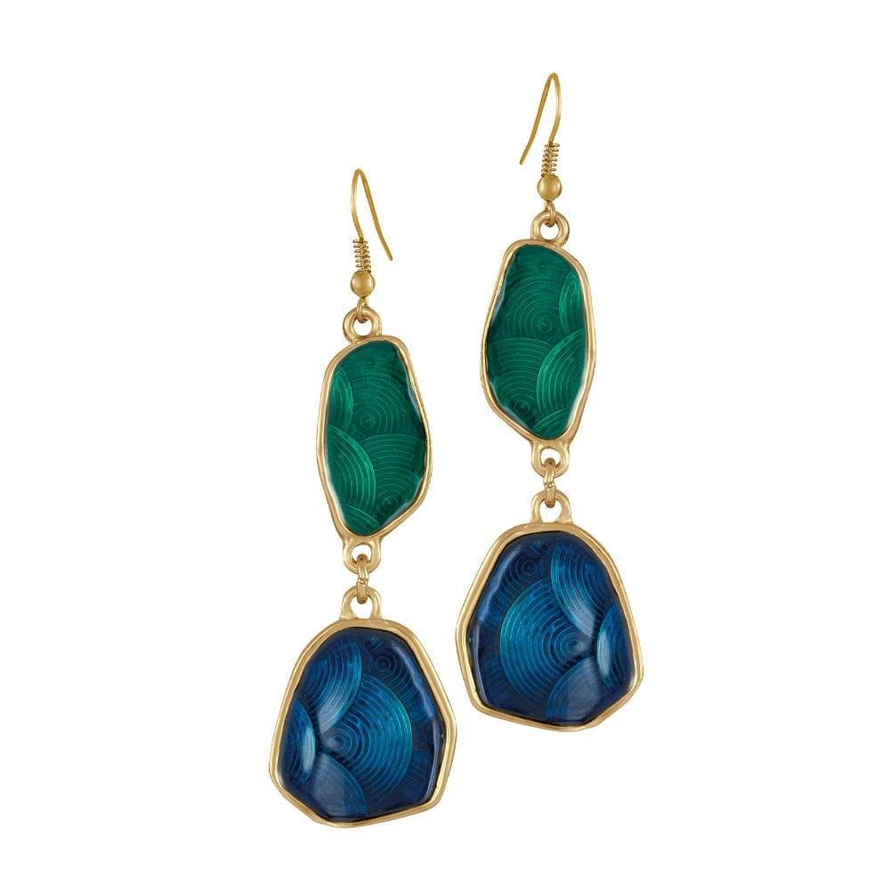 efc628d8ef097 Mardi Gras Laguna Teal and Blue Enamel Gold Tone Drop Pierced Earrings