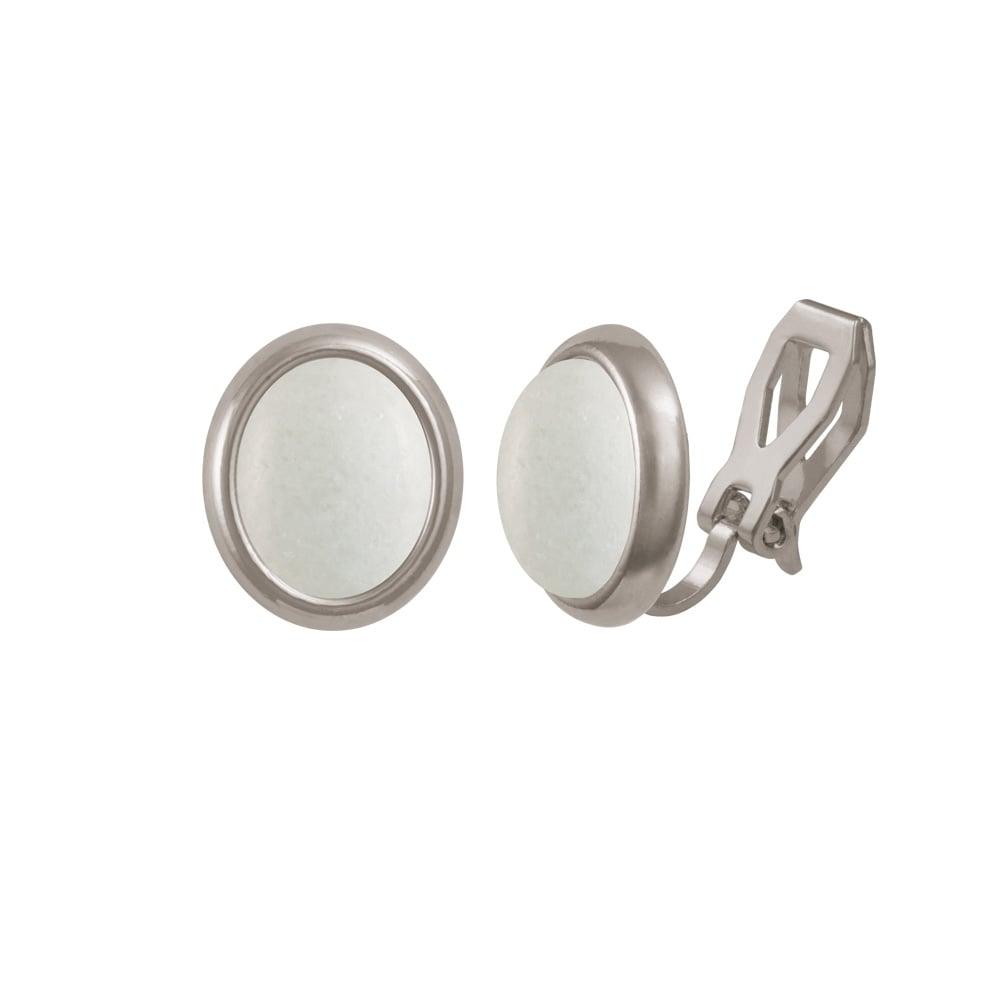 Minuet White Mountain Jade Silver Tone Stud Pierced Earrings
