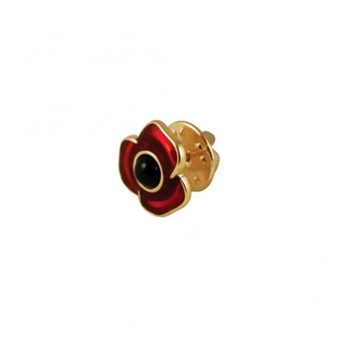 Moda Petite Red Enamel Poppy Flower Gold Tone Lapel or Tie Pin