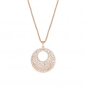 62c21767bf3519 Obsession Clear Crystal Rose Gold Disc Long Pendant Necklace