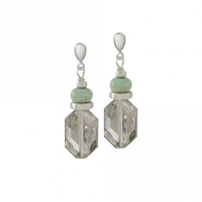 Pagoda Shoushan Stone And Crystal Drop Earrings