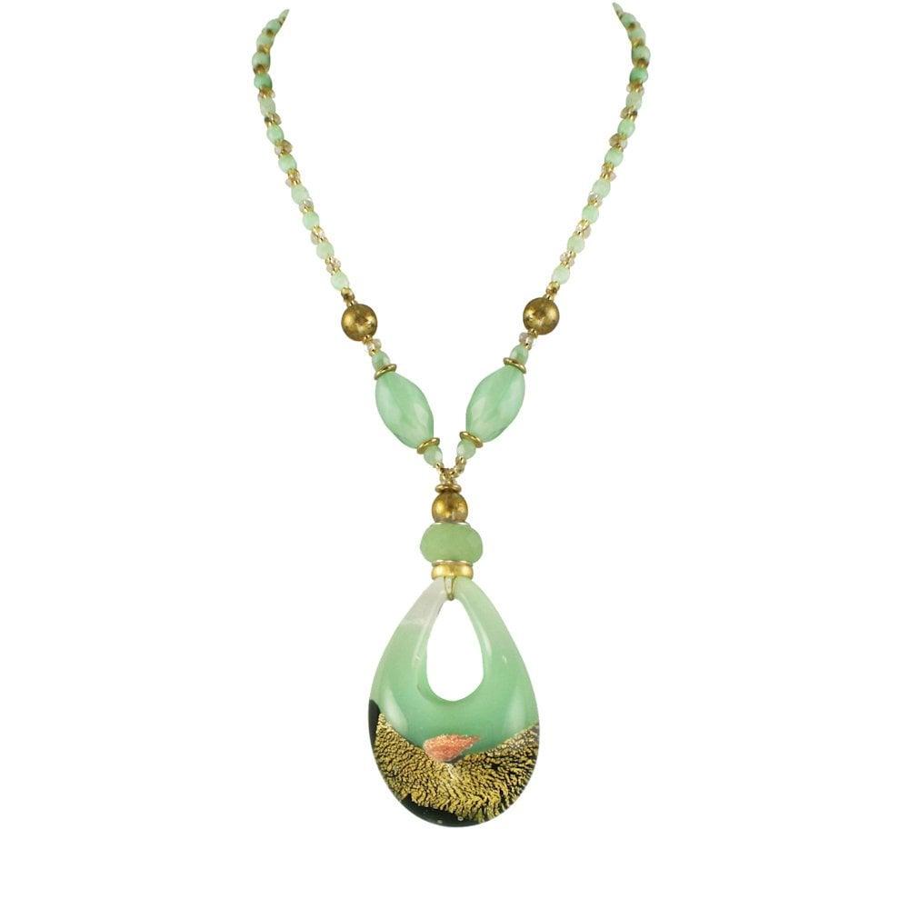5033f84325c Portofino Shades of Green and Gold Venetian Murano Glass Statement ...