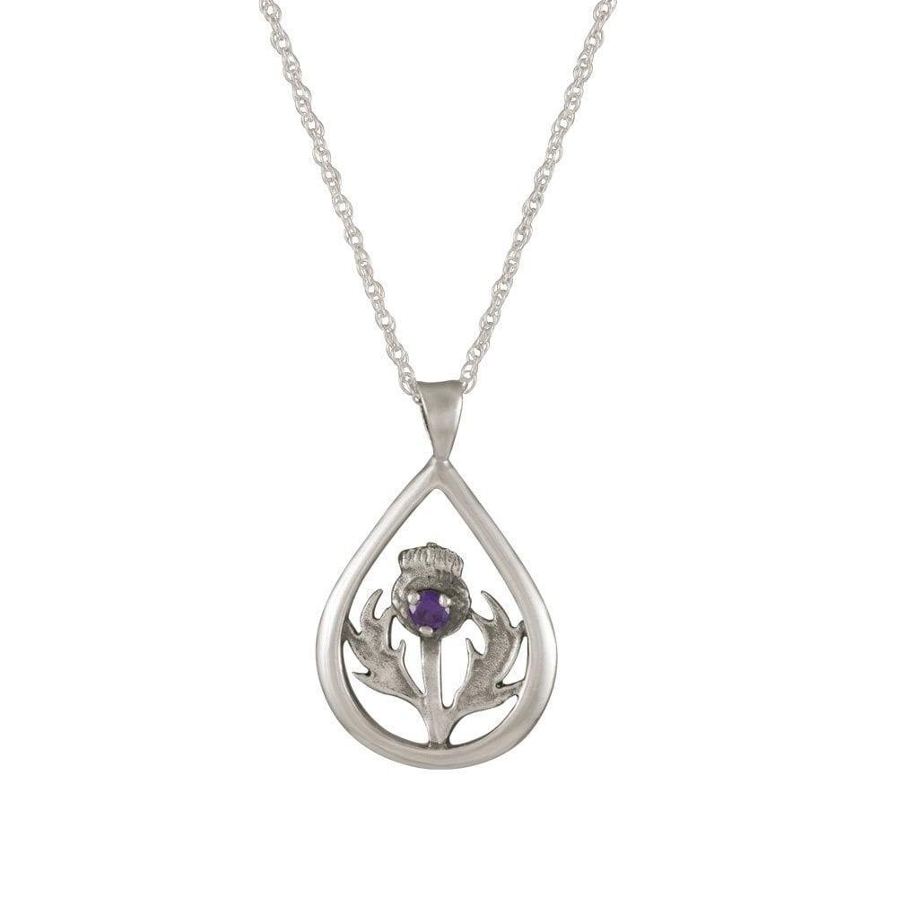 cfa8c58e42f4f Scotland Amethyst Crystal Sterling Silver Pendant Necklace