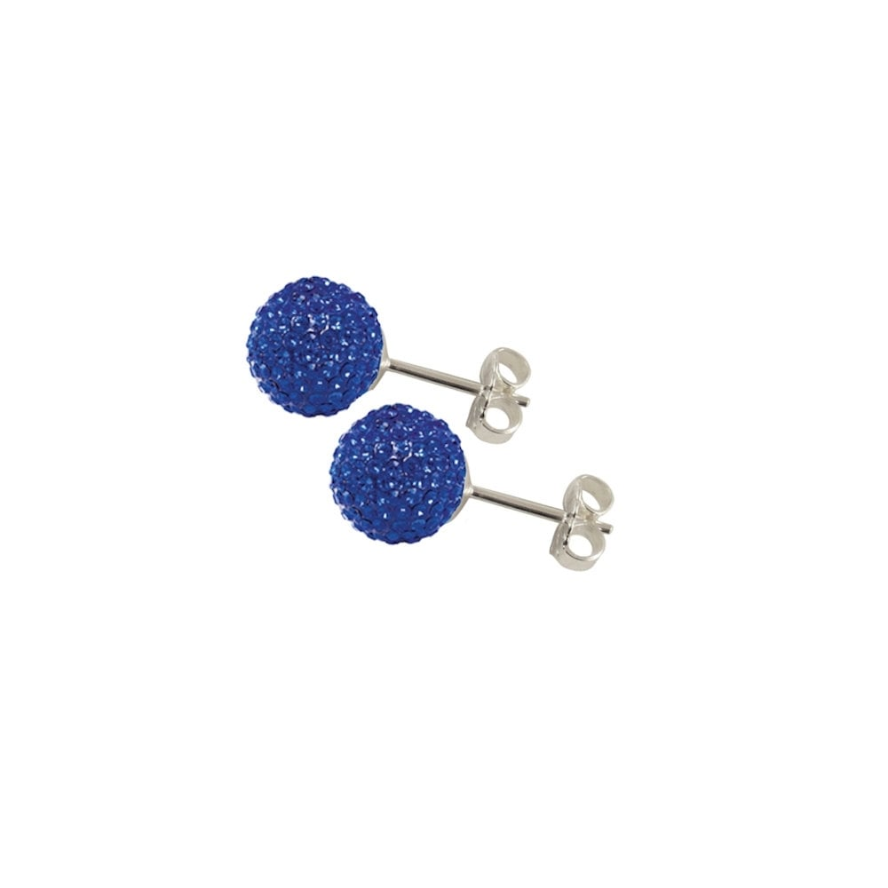 53b3ffbb256cd Shamballa 8mm Sapphire Glitter Ball Stainless Steel Stud Pierced Earrings