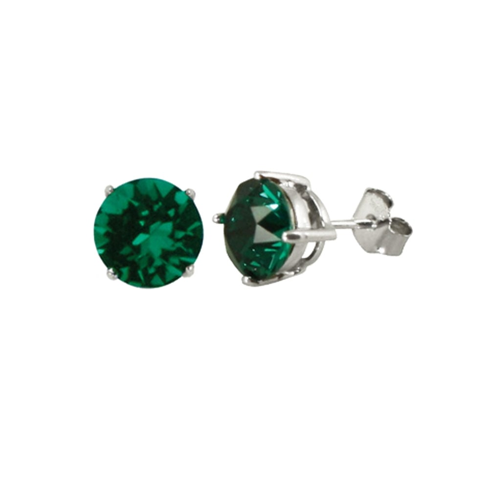 de901f17d48e6 Starlet Sterling Silver Emerald Green Austrian Crystal Solitaire Stud  Earrings