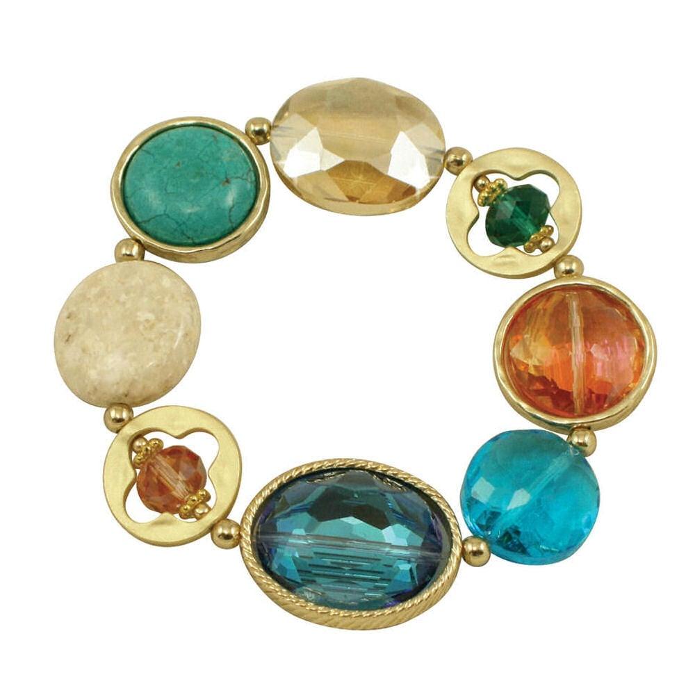 Treasure Trove Multi Crystal and Semi-Precious Gold Tone Stretch Bracelet