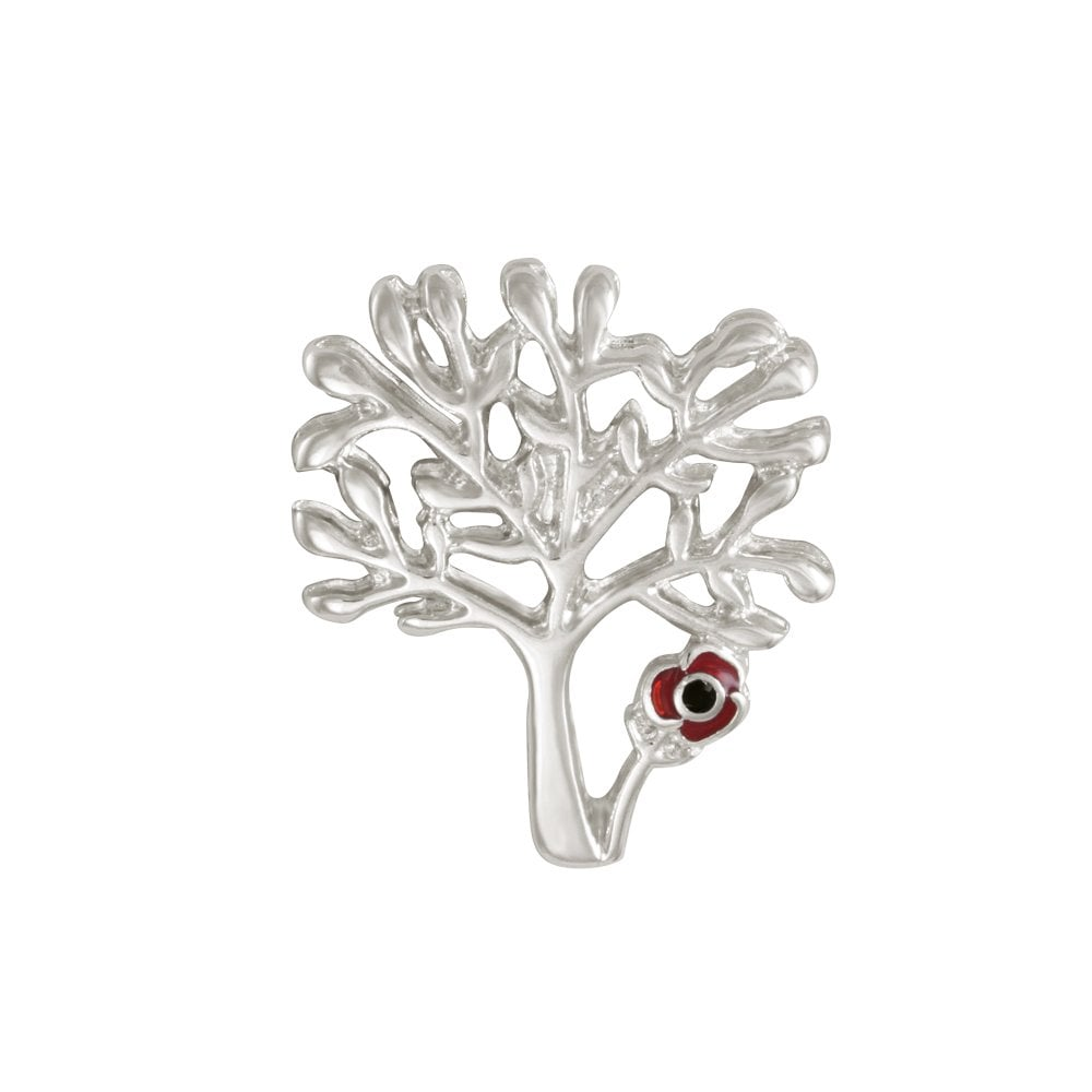 Tree with Red Enamel Poppy Silver Tone Lapel Pin