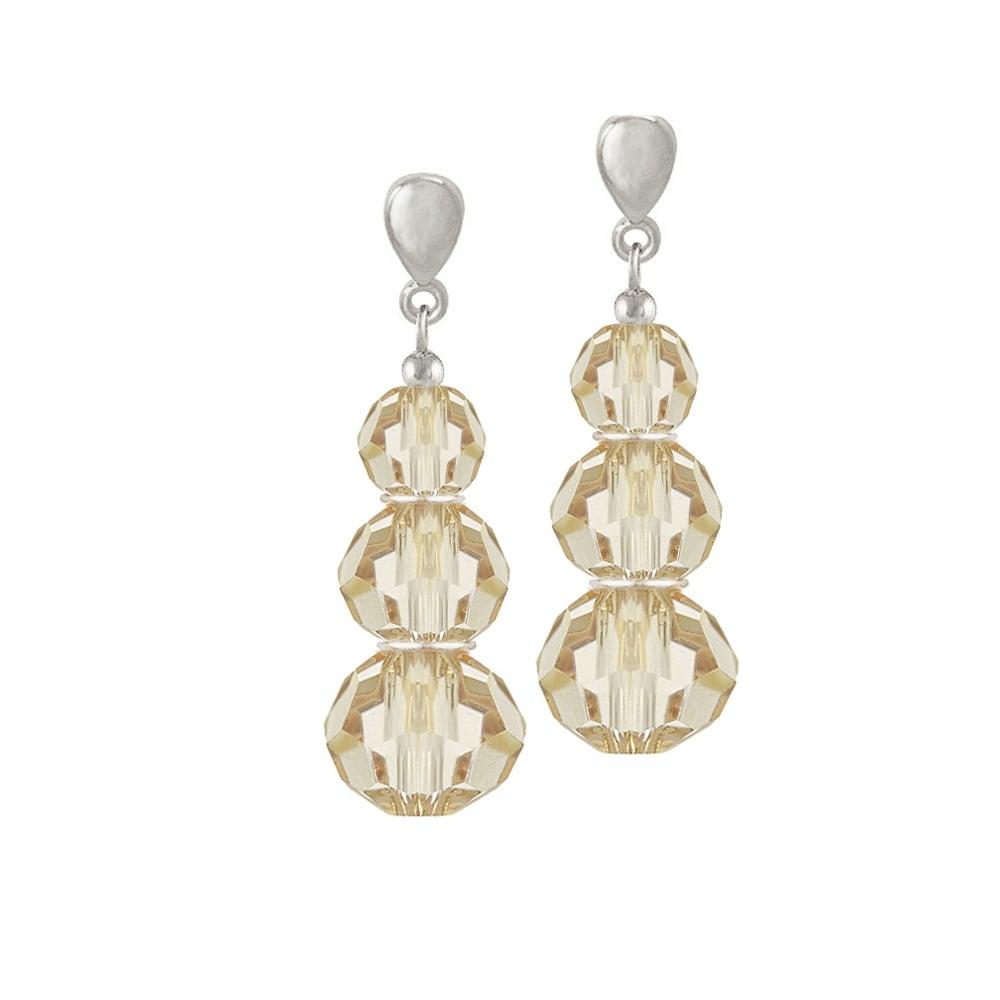 Trinity Golden Shadow Austrian Crystal Silver Tone Drop Pierced Earrings