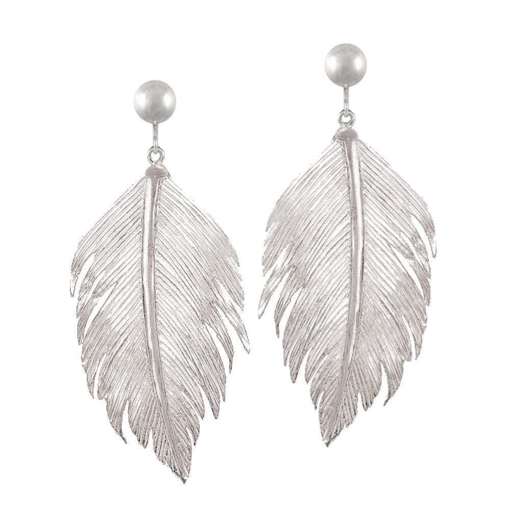 Feather Sterling Silver Drop Clip On Earrings