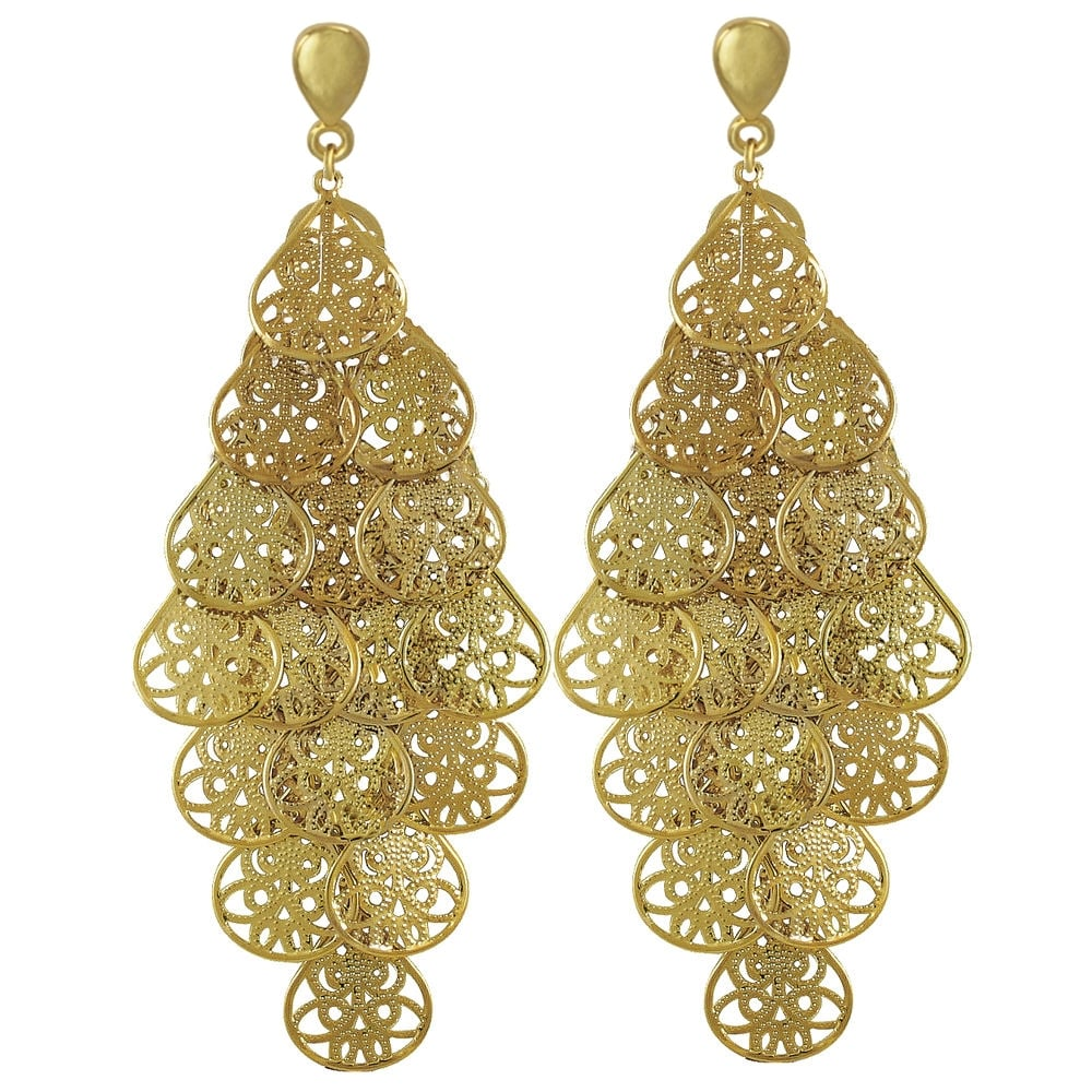 Filigrana gold chandelier clip on earrings filigrana chandelier gold tone drop clip on earrings mozeypictures Choice Image
