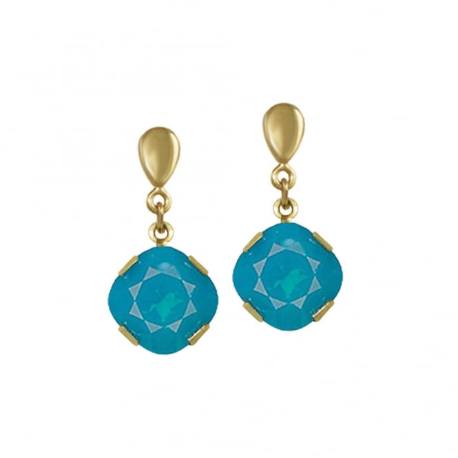 Flair Caribbean Blue Swarovski Crystal Gold Tone Drop Clip On Earrings