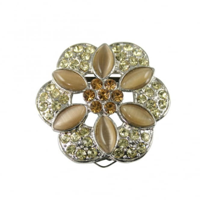 Floral Passions Silver Jonquil & Topaz Scarf Clip