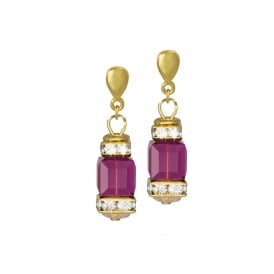 Francesca Fuchsia Pink Crystal Gold Tone Drop Clip On Earrings