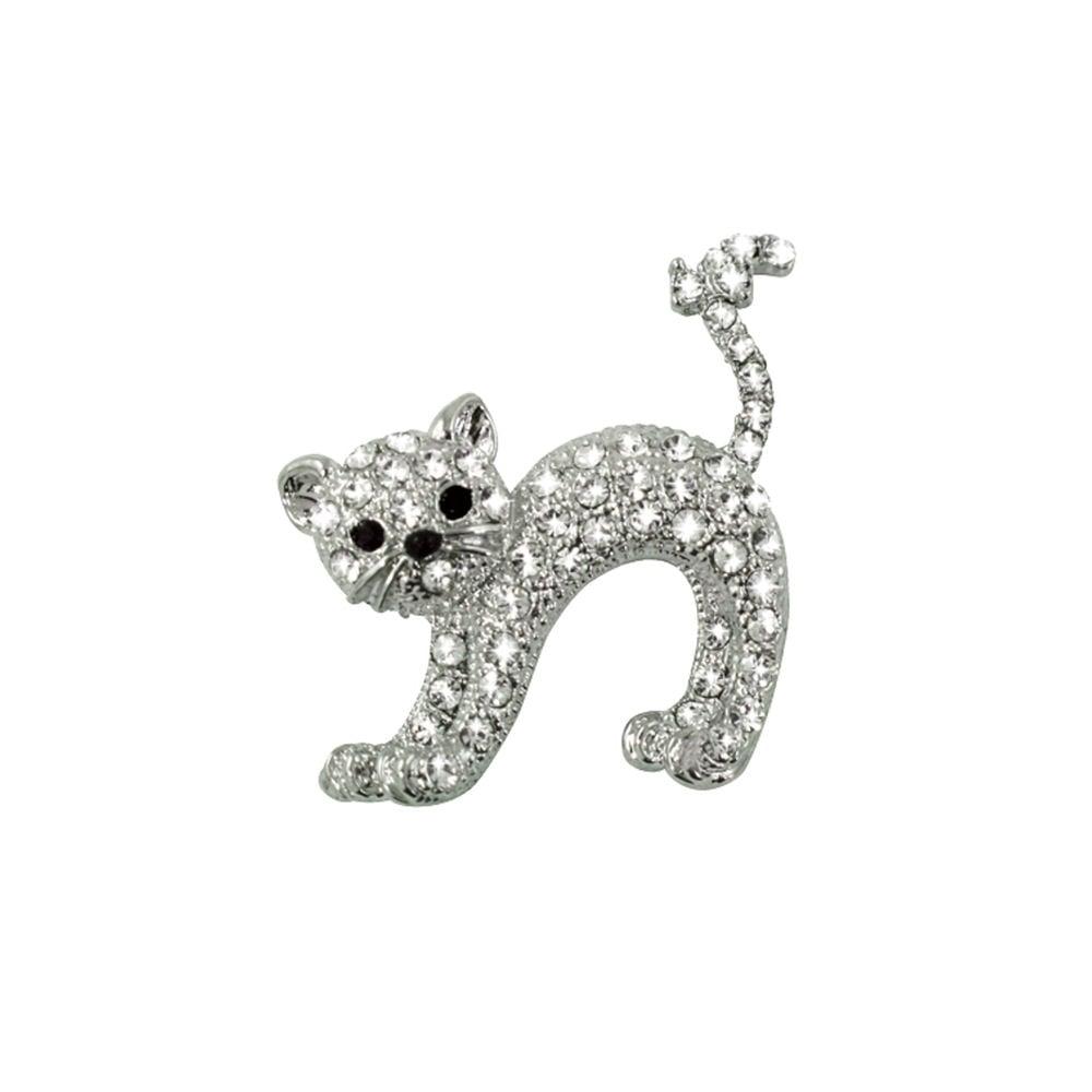Gigi Clear Swarovski Crystal Pussy Cat Brooch