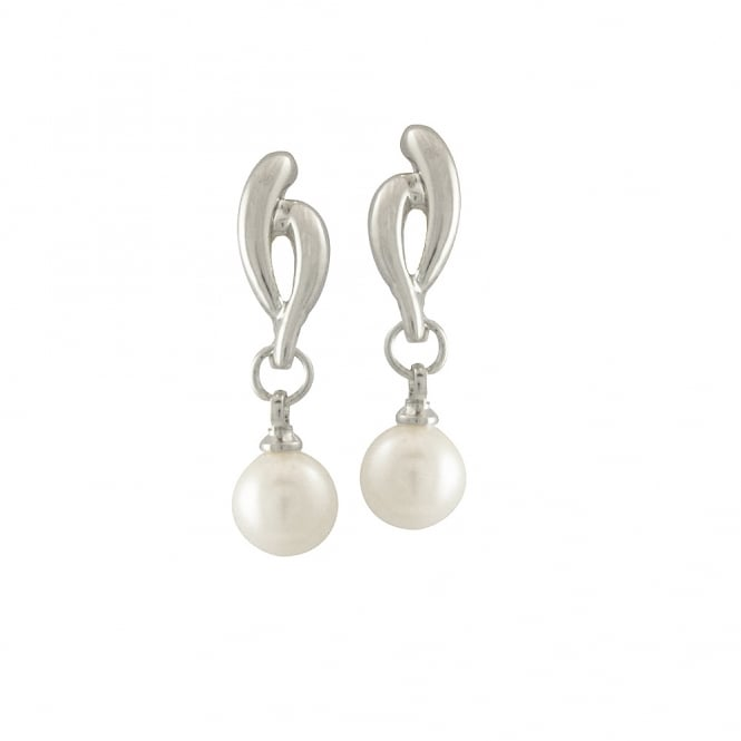 Glory Silver Tone Pearl Drop Pierced Earrings