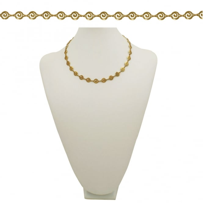 Grecian Round Greek Key Link 18 Inch Gold Tone Necklace