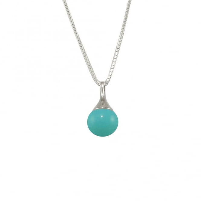 Halcyon Turquoise South Sea Shell Pearl Sterling Silver Pendant Necklace