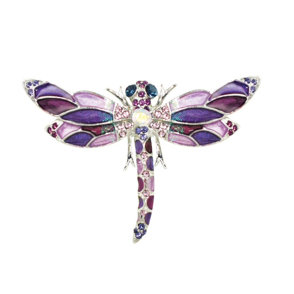 Harlequin Shades Of Purple Enamel And Swarovski Crystal Silver Tone  Dragonfly Brooch