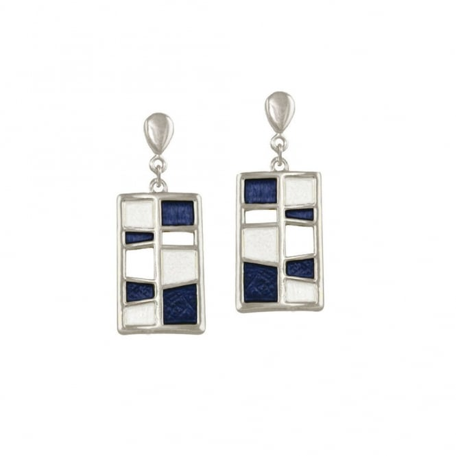 Harmonia Navy Blue and White Enamel Silver Tone Drop Clip On Earrings