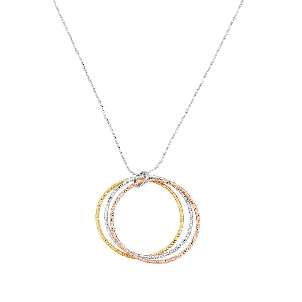 Hypnotic three tone gold triple ring pendant necklace mozeypictures Choice Image