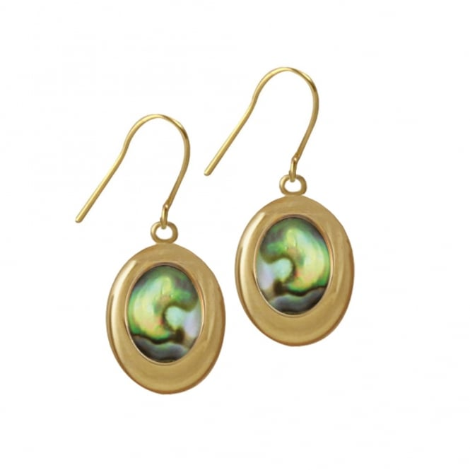 Idaho Natural Abalone Shell Gold Tone Drop Pierced Earrings