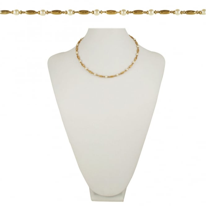 Indulgence 18 Inch Gold Tone and Faux Pearl Necklace
