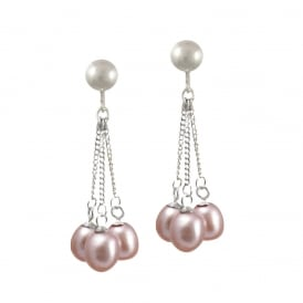 Japonica Teardrop Lavender Freshwater Pearl Silver Tone Drop Clip On Earrings