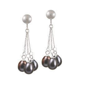 Japonica Teardrop Peacock Freshwater Pearl Silver Tone Drop Clip On Earrings