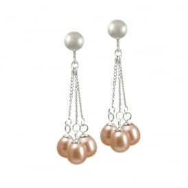 Japonica Teardrop Pink Freshwater Pearl Silver Tone Drop Clip On Earrings