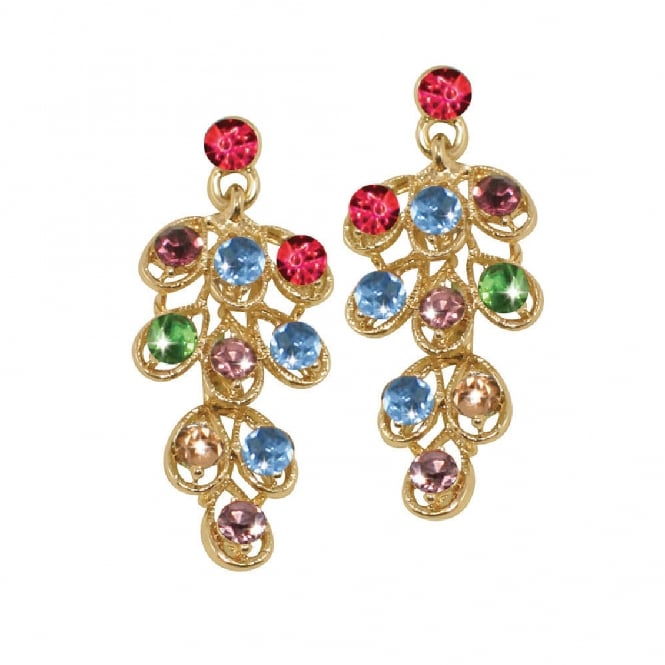 Jezebel Rainbow Crystal Gold Tone Diamante Drop Pierced Earrings