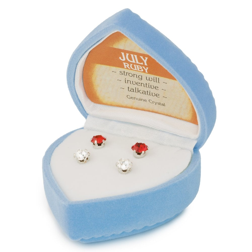 18c082e61 July Birthstone Siam Red and Clear Crystal Stud Pierced Earrings Gift Set