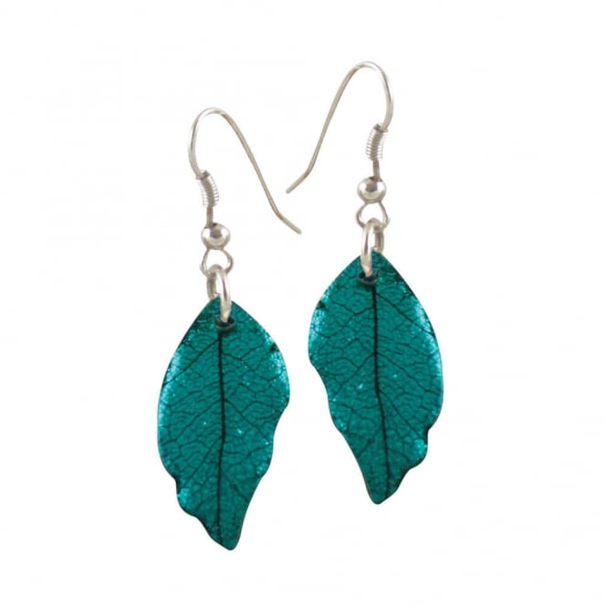 Laurel Deep Teal Leaf Silver Tone Drop Pierced Earrings