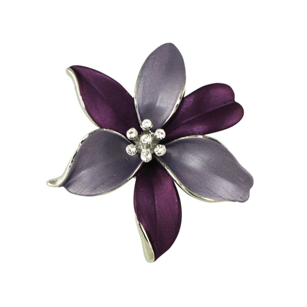 caa46f9231dc Lily Purple Lilac Enamel and Swarovski Crystal Silver Tone Flower Brooch