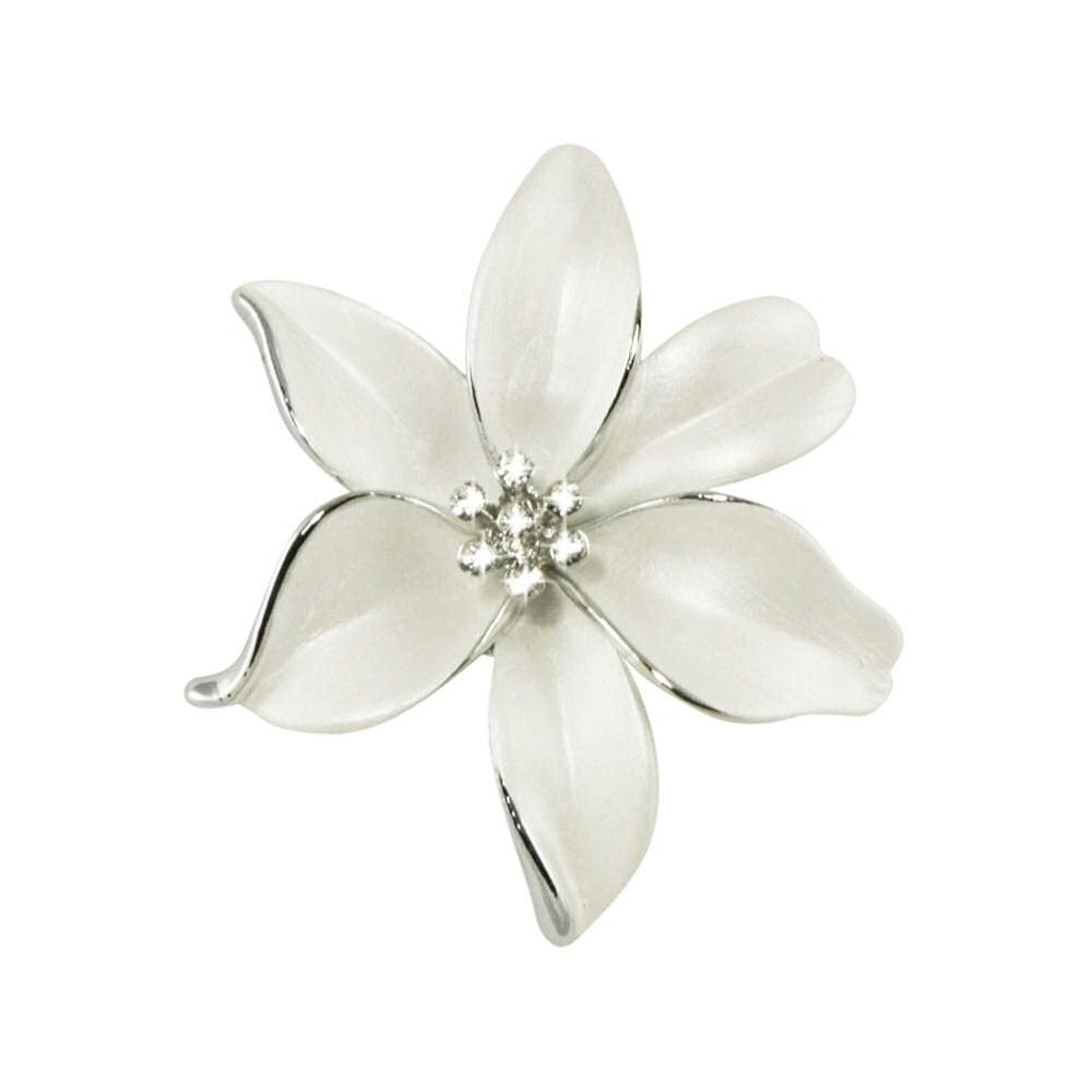 Lily white enamel and swarovski crystal silver tone flower brooch mightylinksfo