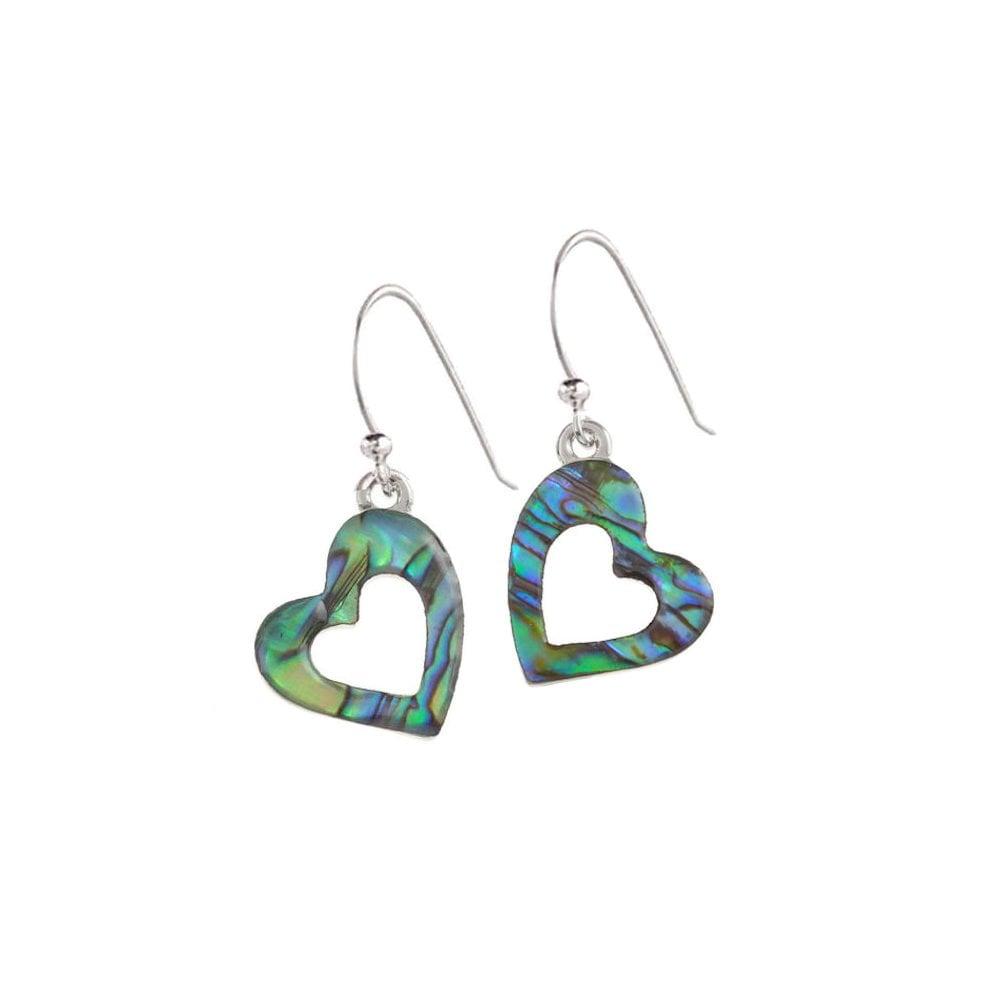 d7321764e Love Heart Paua Shell Silver Tone Drop Pierced Earrings