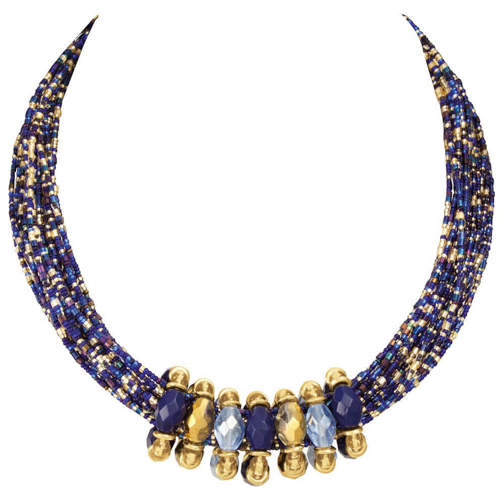 Torsade Necklace: Luciana Blue And Gold Statement Venetian Murano Glass