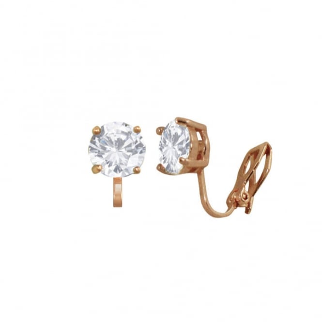 Luxe Cubic Zirconia and Rose Gold Tone Stud Clip On Earrings