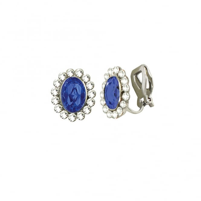 Majesty Sapphire Blue Crystal Silver Tone Stud Clip On Earrings
