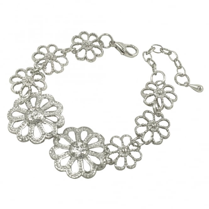 Marguerite Clear Crystal Silver Tone Daisy Fashion Bracelet