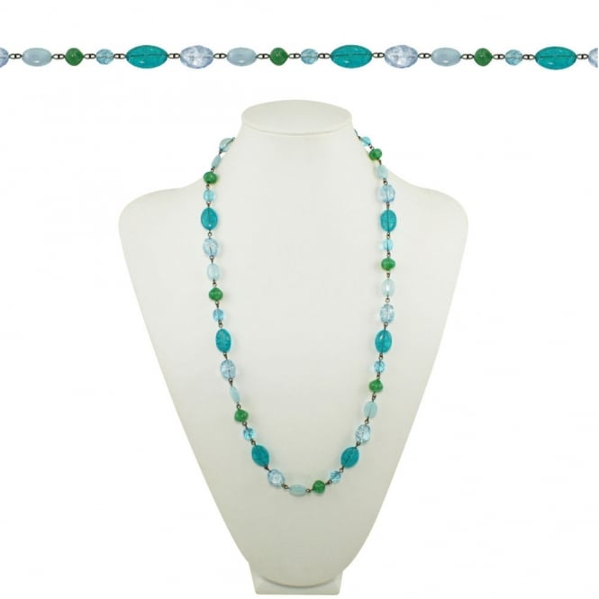 Martinique Blue Aqua and Green Preciosa Crystal 26 Inch Gunmetal Tone Beaded Necklace
