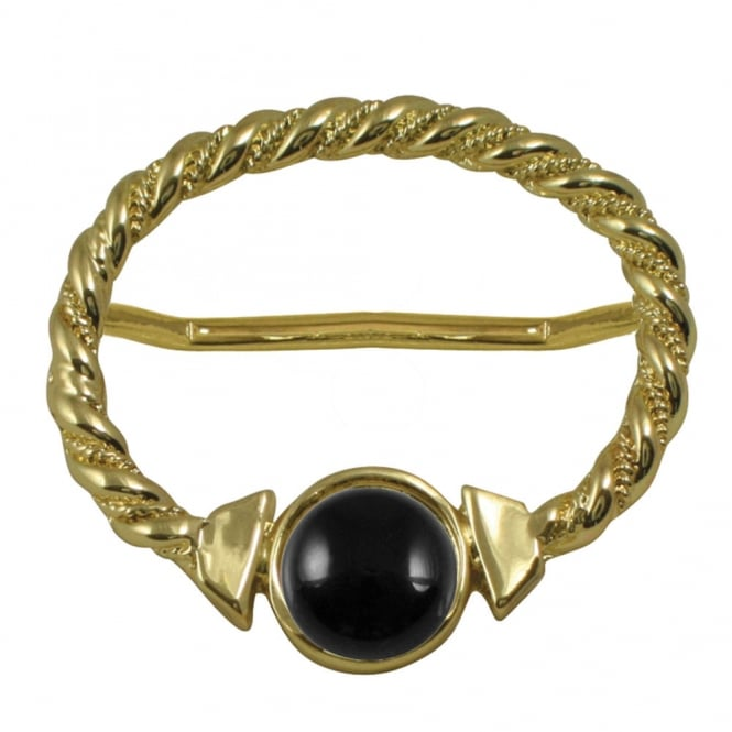 Maxi Black Onyx Large Gold Scarf Ring