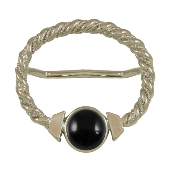 Maxi Black Onyx Large Silver Scarf Ring