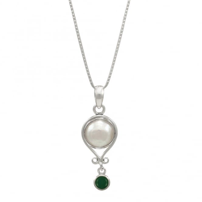 May Emerald and Pearl Sterling Silver Birthstone Pendant