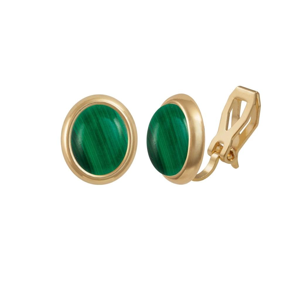 Minuet Green Malachite Silver Stud Pierced Earrings With Gift Box Mh8WL