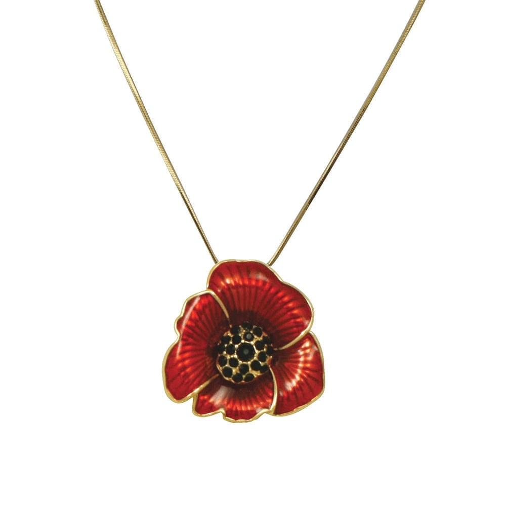 Red poppy flower enamel gold tone pendant necklace moda red enamel poppy flower gold tone pendant necklace aloadofball Gallery