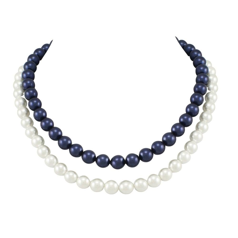 Perdita White Swarovski Glass Pearl Gold Link Necklace With Gift Box GTNhtCMa