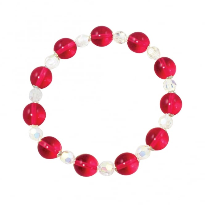Morning Dew Cranberry Czech Crystal Stretch Bracelet