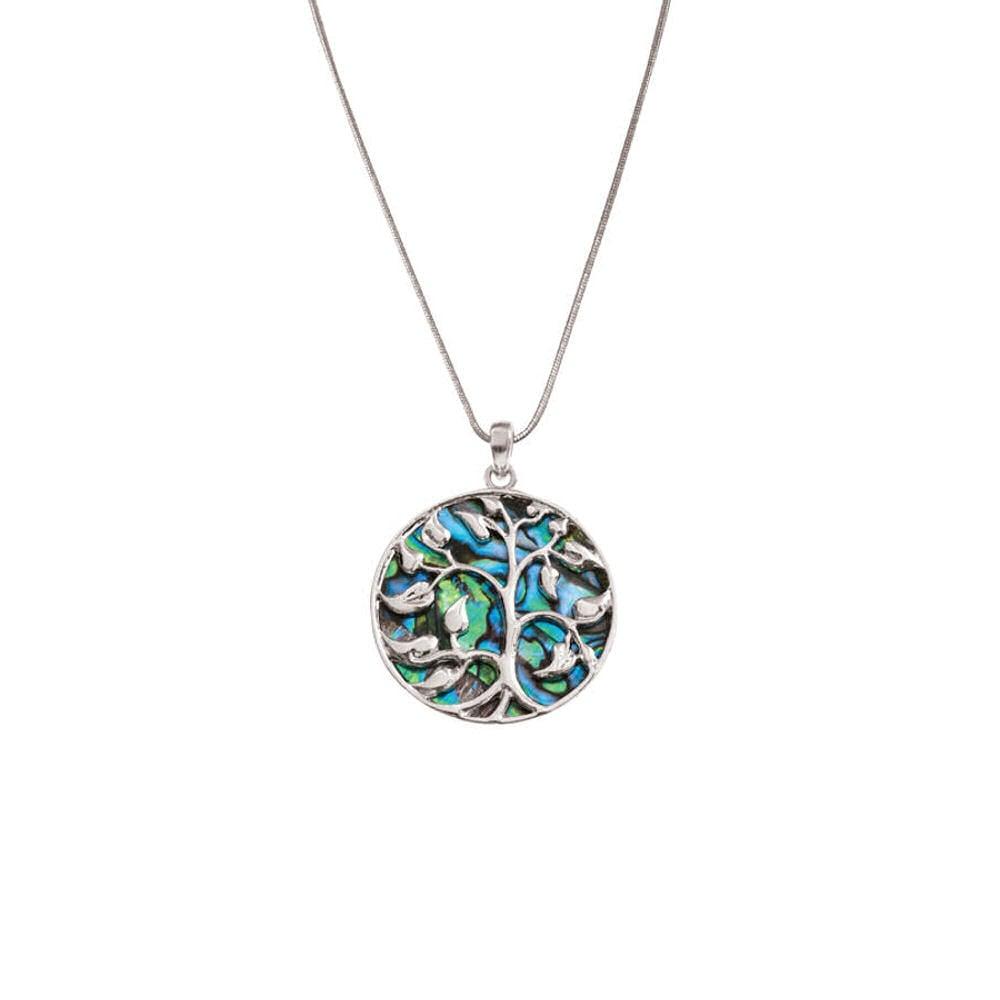 Mystical paua shell tree of life silver tone pendant necklace aloadofball Choice Image