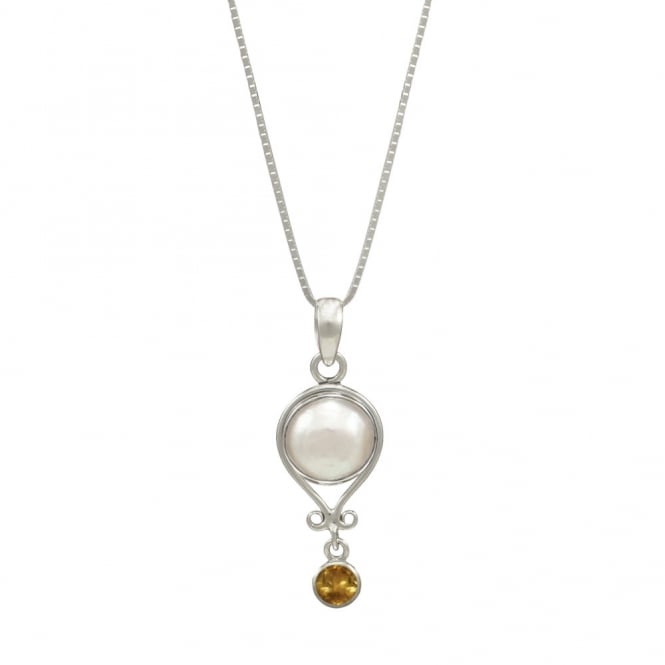 November Citrine and Pearl Sterling Silver Birthstone Pendant